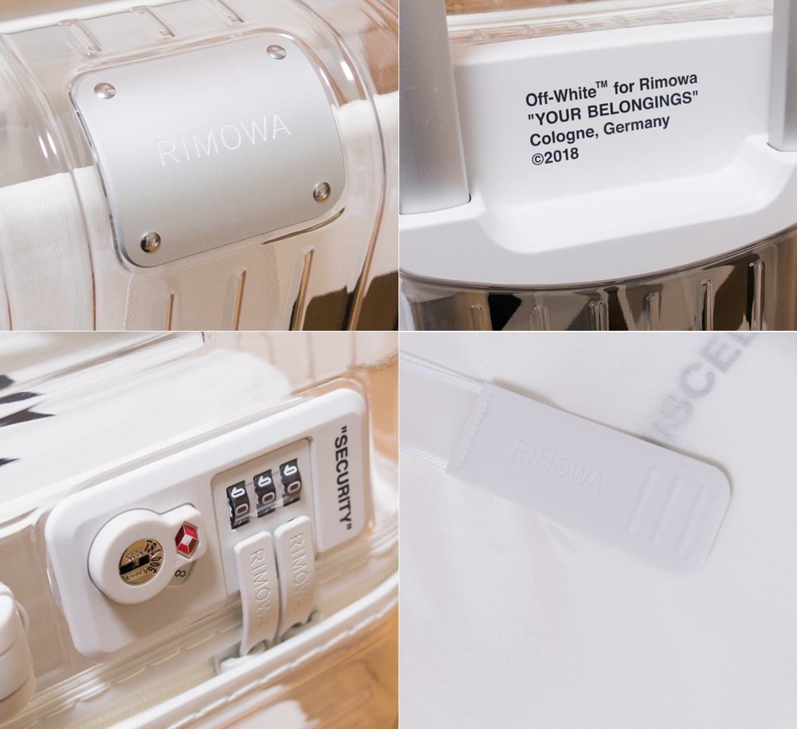 即完売 RIMOWA リモワ OFF-WHITE 18AW オフホワイト 36L シースルー スケルトン コラボ商品 スーツケース 超軽量 クリア×ホワイト 劇レア_画像4