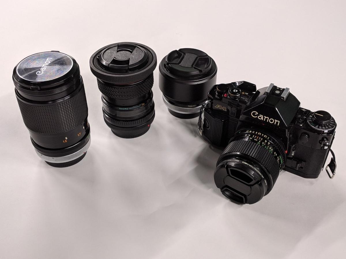 Canon A-1 FDレンズ4本付 28/2、50/1.4、135/2.5、28-70/3.5-4.5 完動品 テスト撮影済み キャノン フィルムカメラ FDマウント 中古