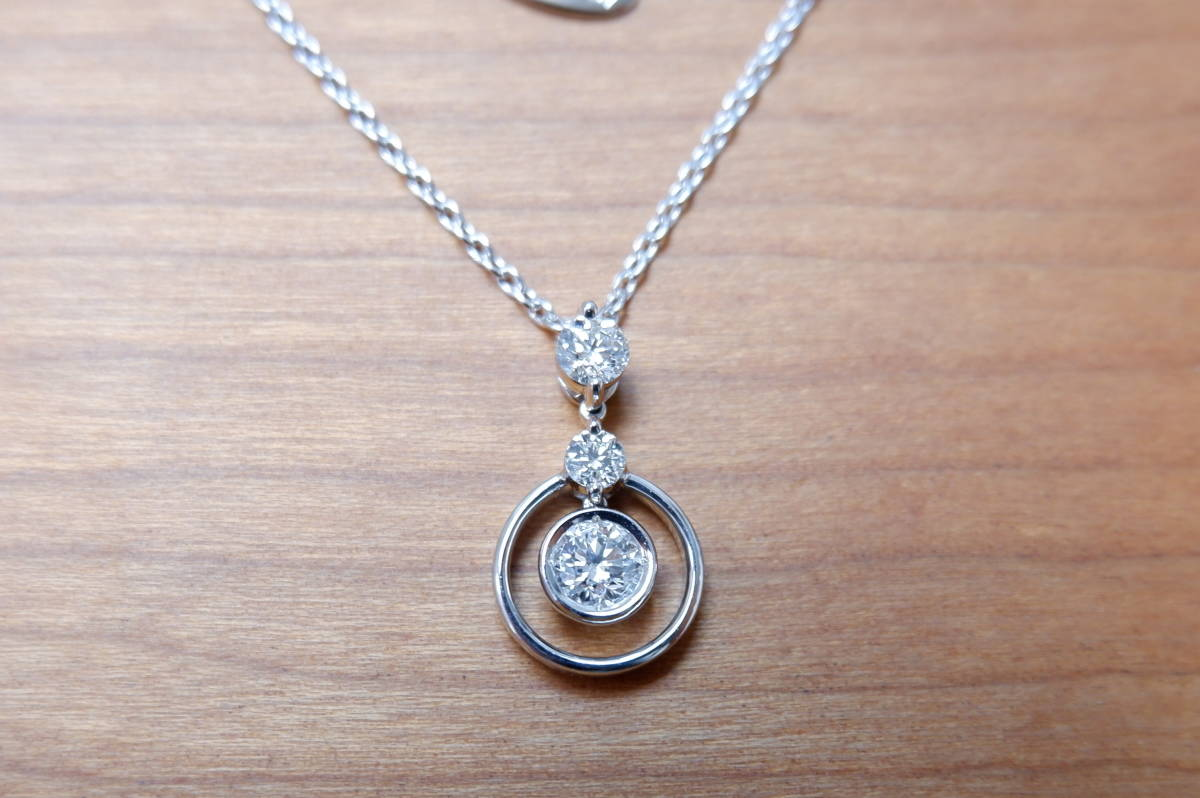 安心堂 フォーエバーマーク コラボ ダイヤモンド 計0.52ct ロンド ネックレス デビアス トリロジー_画像7