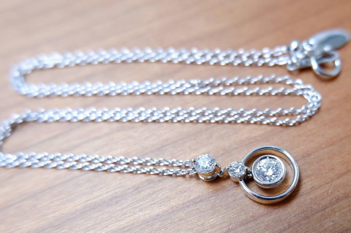 安心堂 フォーエバーマーク コラボ ダイヤモンド 計0.52ct ロンド ネックレス デビアス トリロジー_画像4