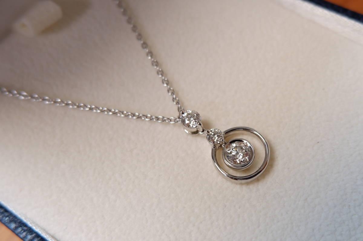 安心堂 フォーエバーマーク コラボ ダイヤモンド 計0.52ct ロンド ネックレス デビアス トリロジー_画像3