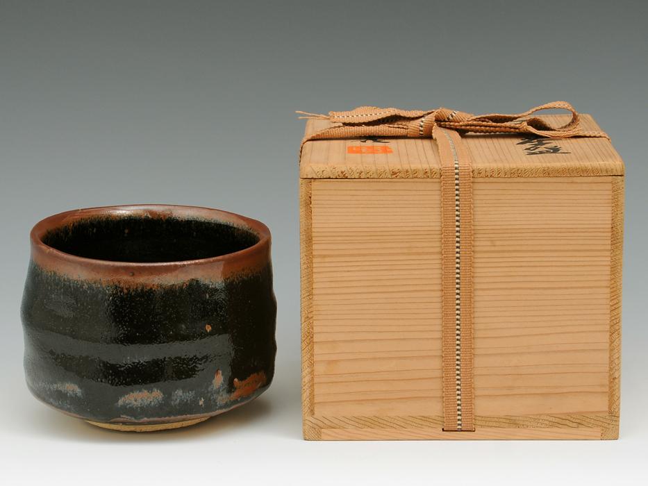 加藤賢司(造)天目釉茶碗 天目釉 共箱 茶道具 現代工芸 日本工芸会正会員 未使用   b4242e_画像2