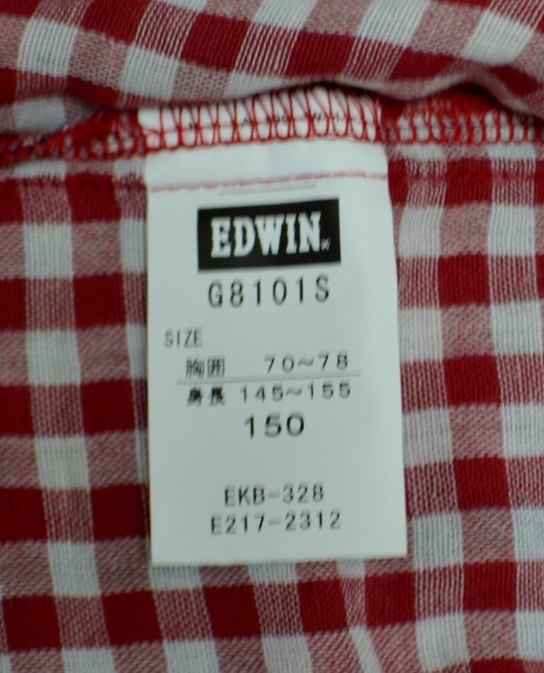 【新品未使用品】半袖シャッツ(edwin タータンチェックG8101S レッド)_画像10