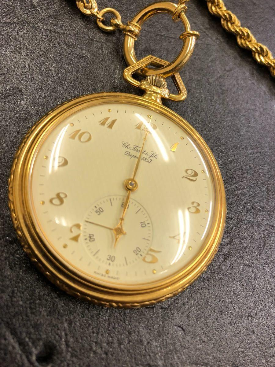 美品/稼働品TISSOT ティソ 懐中時計 手巻き chs tissot & fils depuis 1853 _画像2