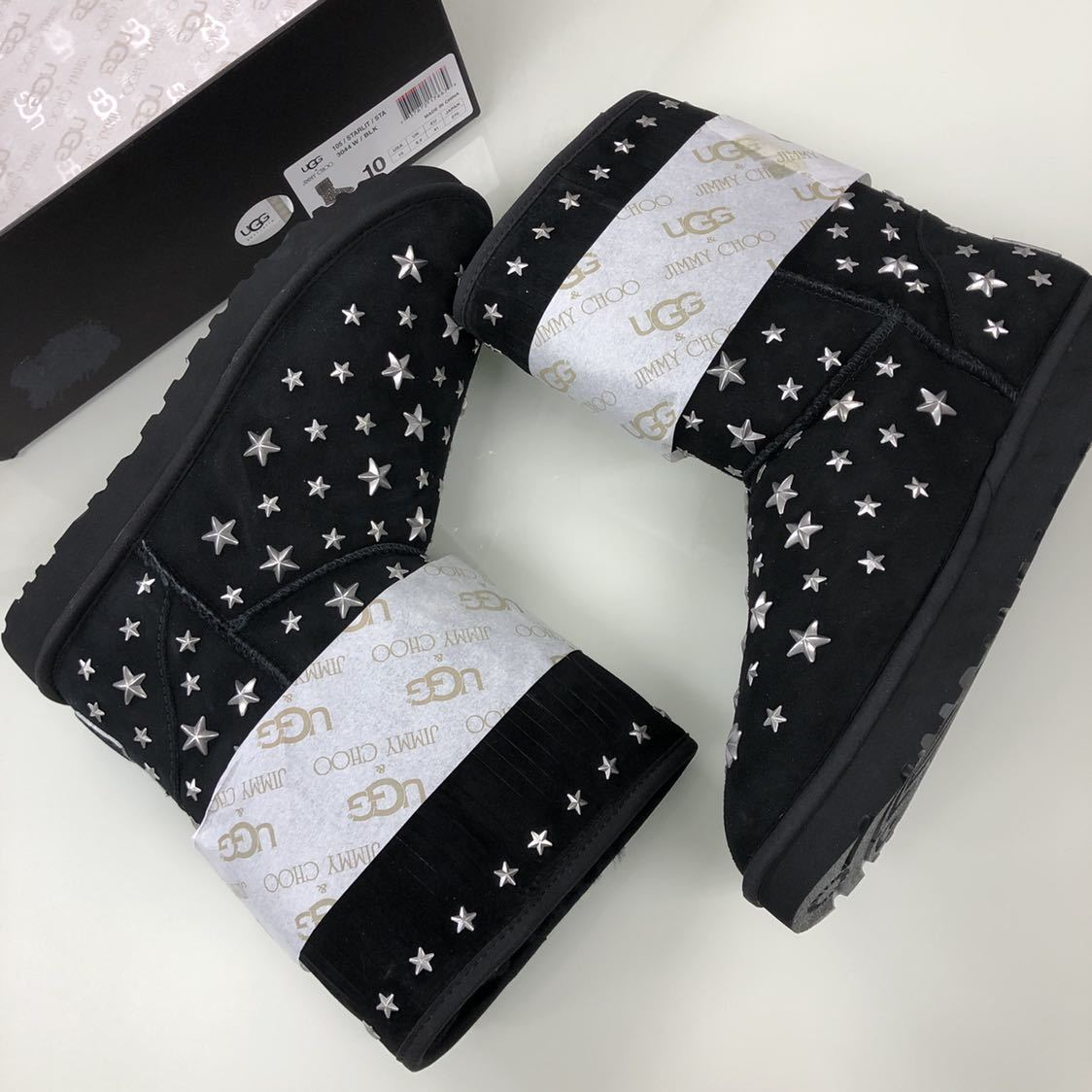 fb474f6ab06 wonderful collaboration new goods ( men's size )JIMMY CHOO×UGG( Jimmy Choo  UGG ) fringe Star studs mouton boots black ( size W10)27cm