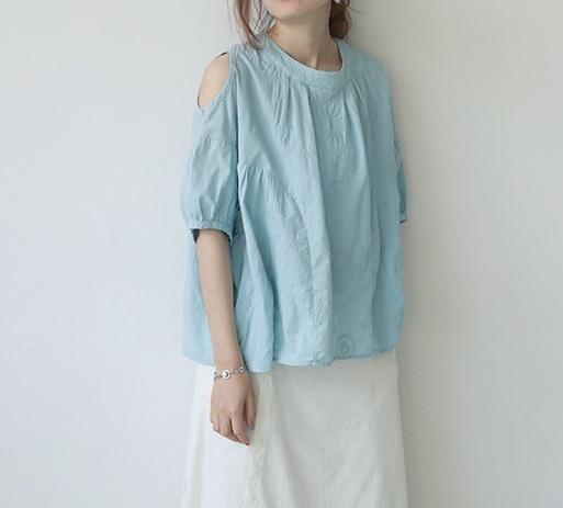 新品 シャツ 綿混 ブルー フリーサイズ_画像1