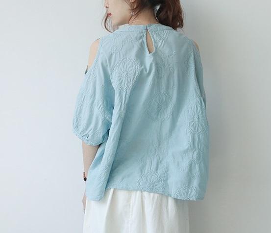 新品 シャツ 綿混 ブルー フリーサイズ_画像2