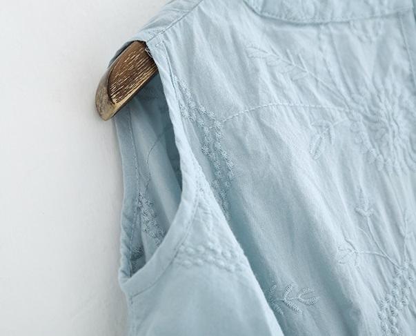 新品 シャツ 綿混 ブルー フリーサイズ_画像8