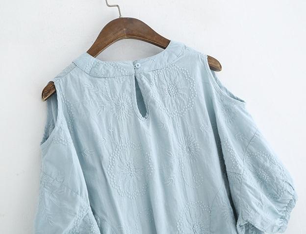 新品 シャツ 綿混 ブルー フリーサイズ_画像6