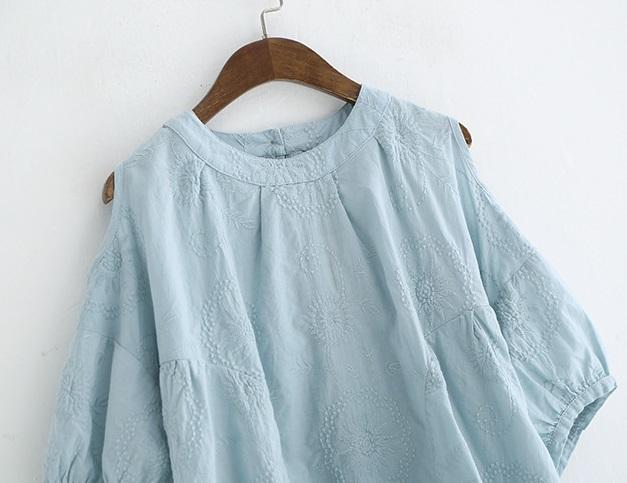 新品 シャツ 綿混 ブルー フリーサイズ_画像5
