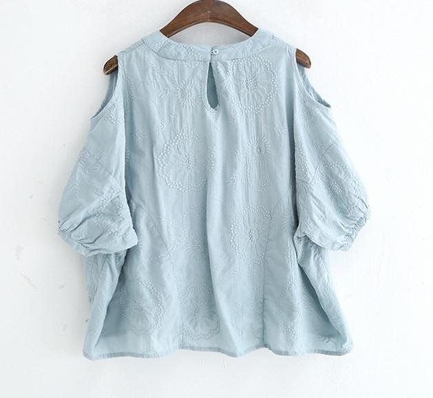 新品 シャツ 綿混 ブルー フリーサイズ_画像4