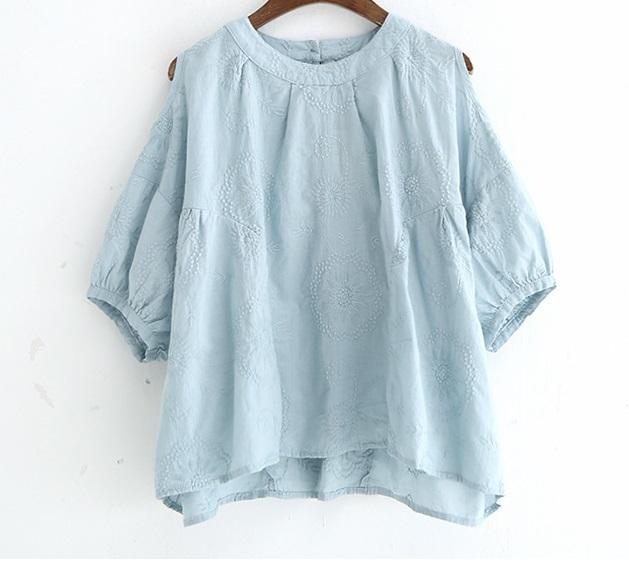 新品 シャツ 綿混 ブルー フリーサイズ_画像3