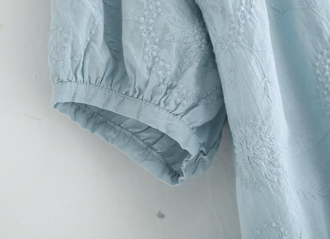 新品 シャツ 綿混 ブルー フリーサイズ_画像9