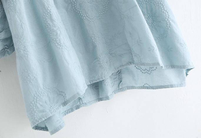 新品 シャツ 綿混 ブルー フリーサイズ_画像10