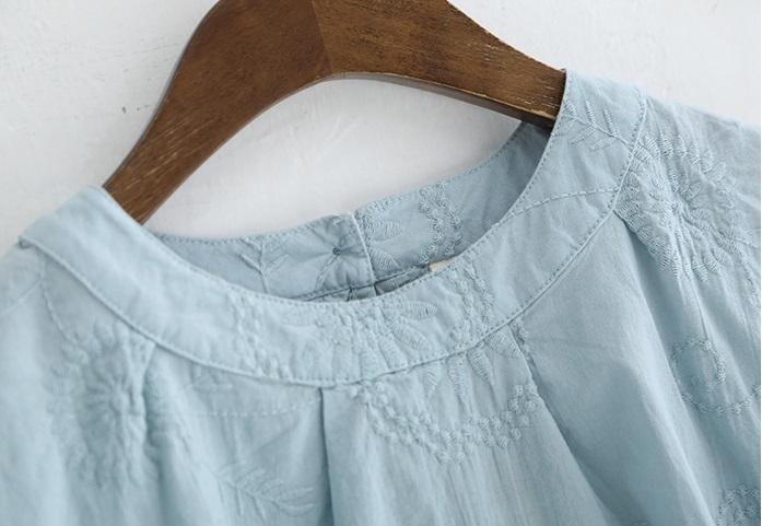 新品 シャツ 綿混 ブルー フリーサイズ_画像7