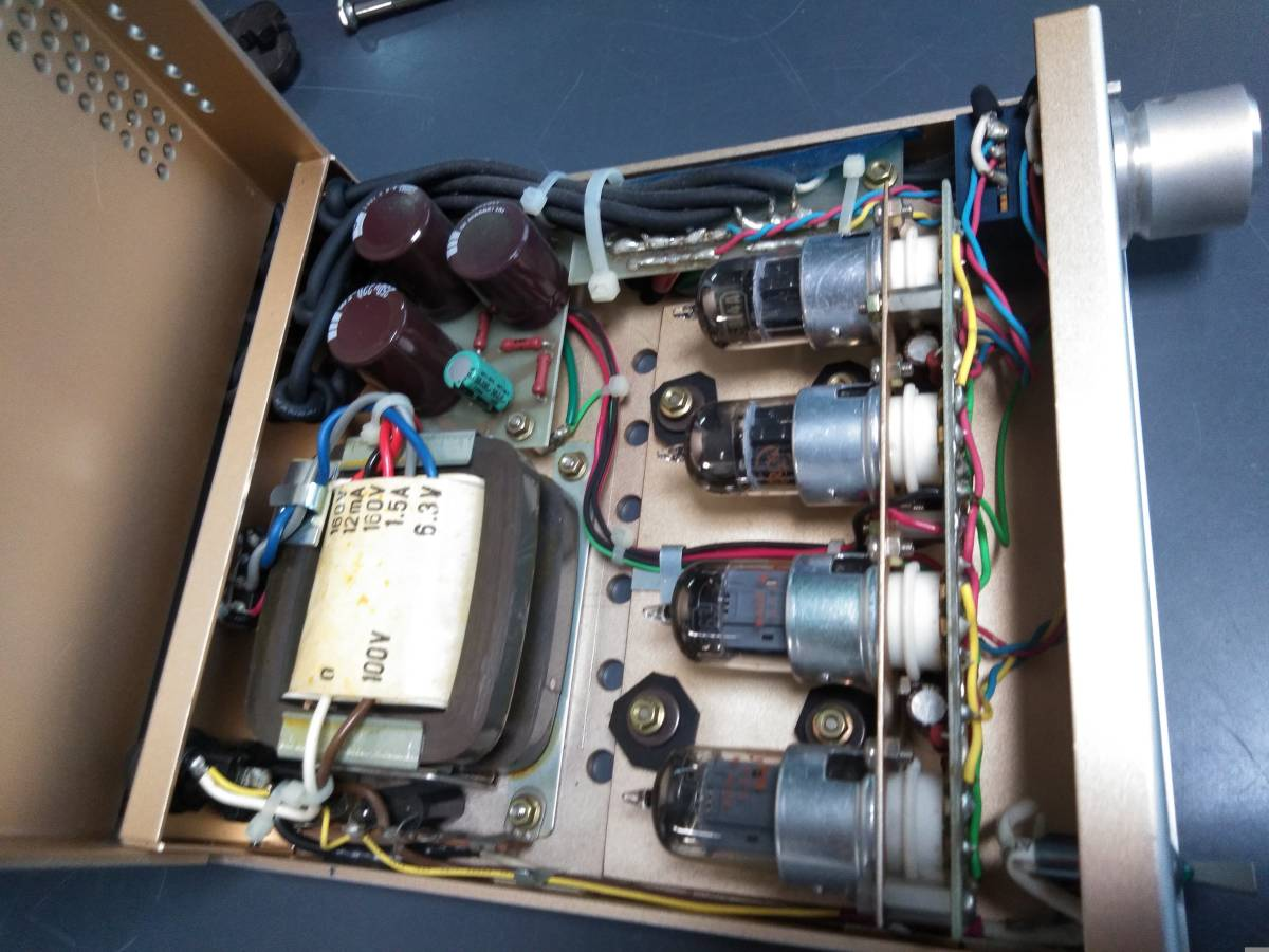 1DINサイズの真空管ラインドライバー 特注でオディオで製作 動作品 アンプ3台接続できます 入力は1系統_画像5