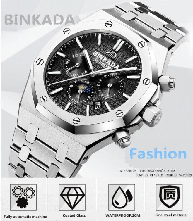 0b5d296d81 代購代標第一品牌- 樂淘letao - 【3色展開】BINKADA海外高級ブランド輸入腕時計 ブルー白黒機械式クロノグラフコンプリートカレンダー機能サファイアガラス風防防水
