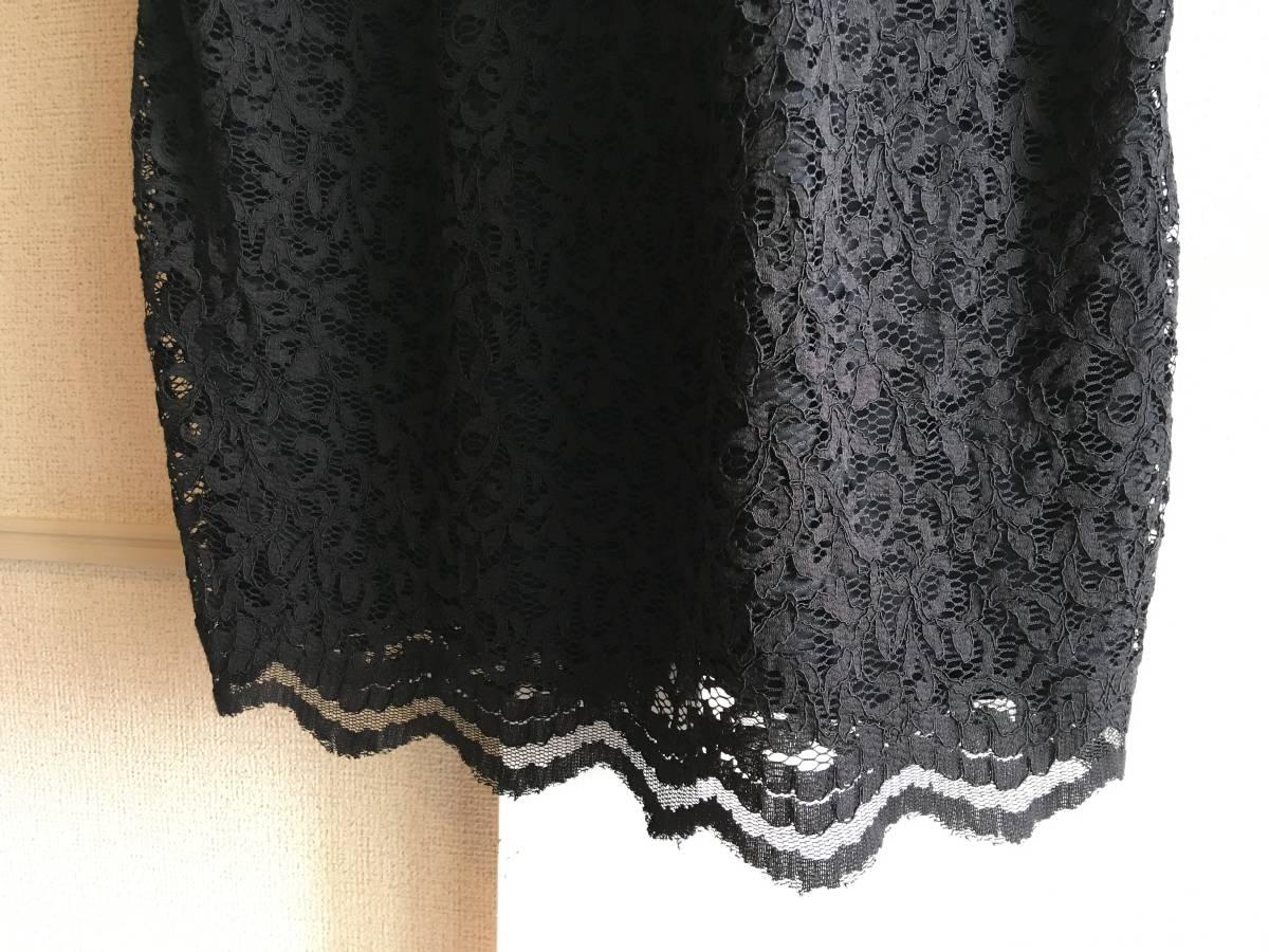 美品 ミュベール レース ニット レイヤード ワンピース 38 ブラック ドレス muveil 黒 蜂 刺繍 装飾_画像5