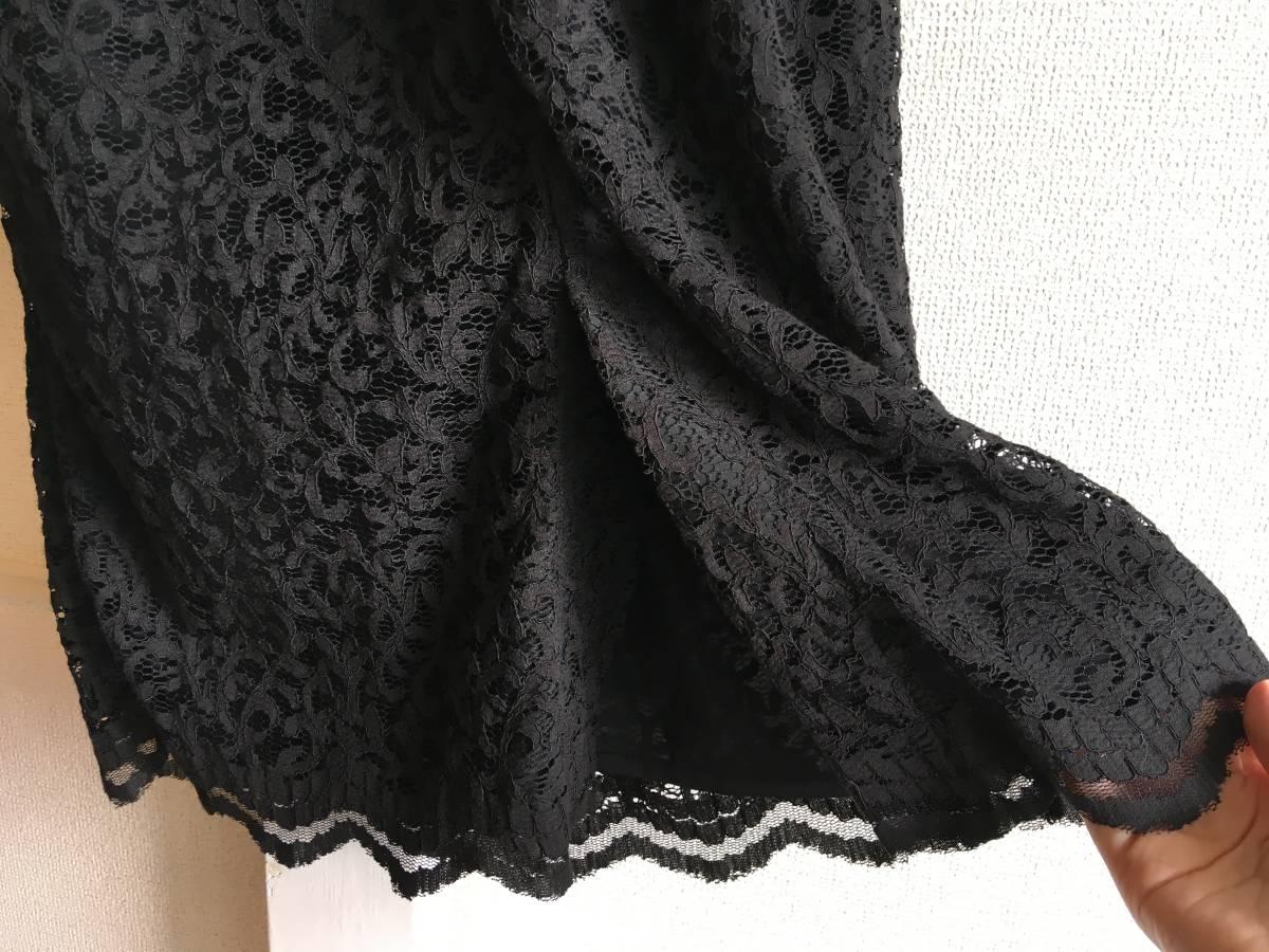美品 ミュベール レース ニット レイヤード ワンピース 38 ブラック ドレス muveil 黒 蜂 刺繍 装飾_画像8