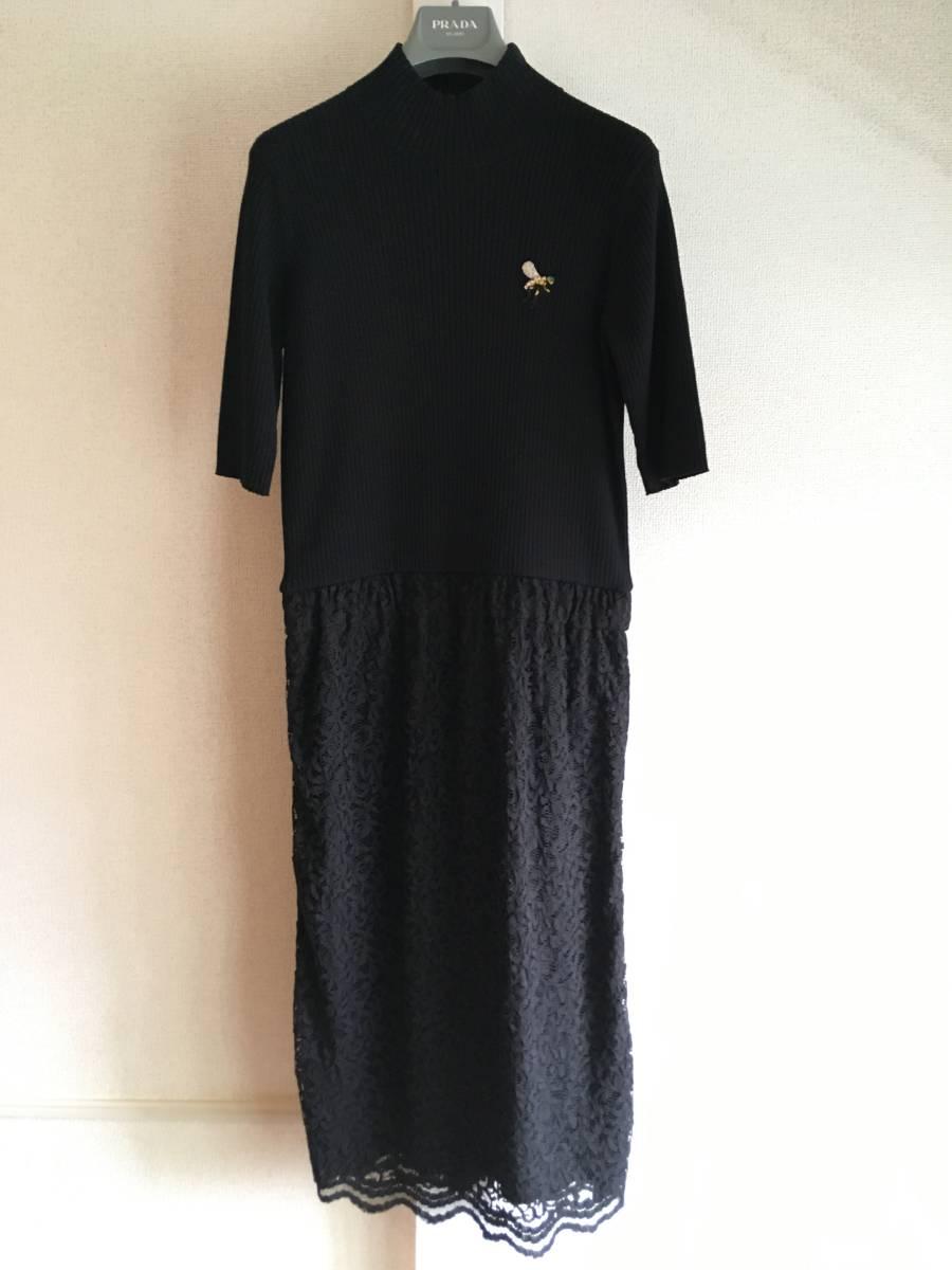 美品 ミュベール レース ニット レイヤード ワンピース 38 ブラック ドレス muveil 黒 蜂 刺繍 装飾_画像1