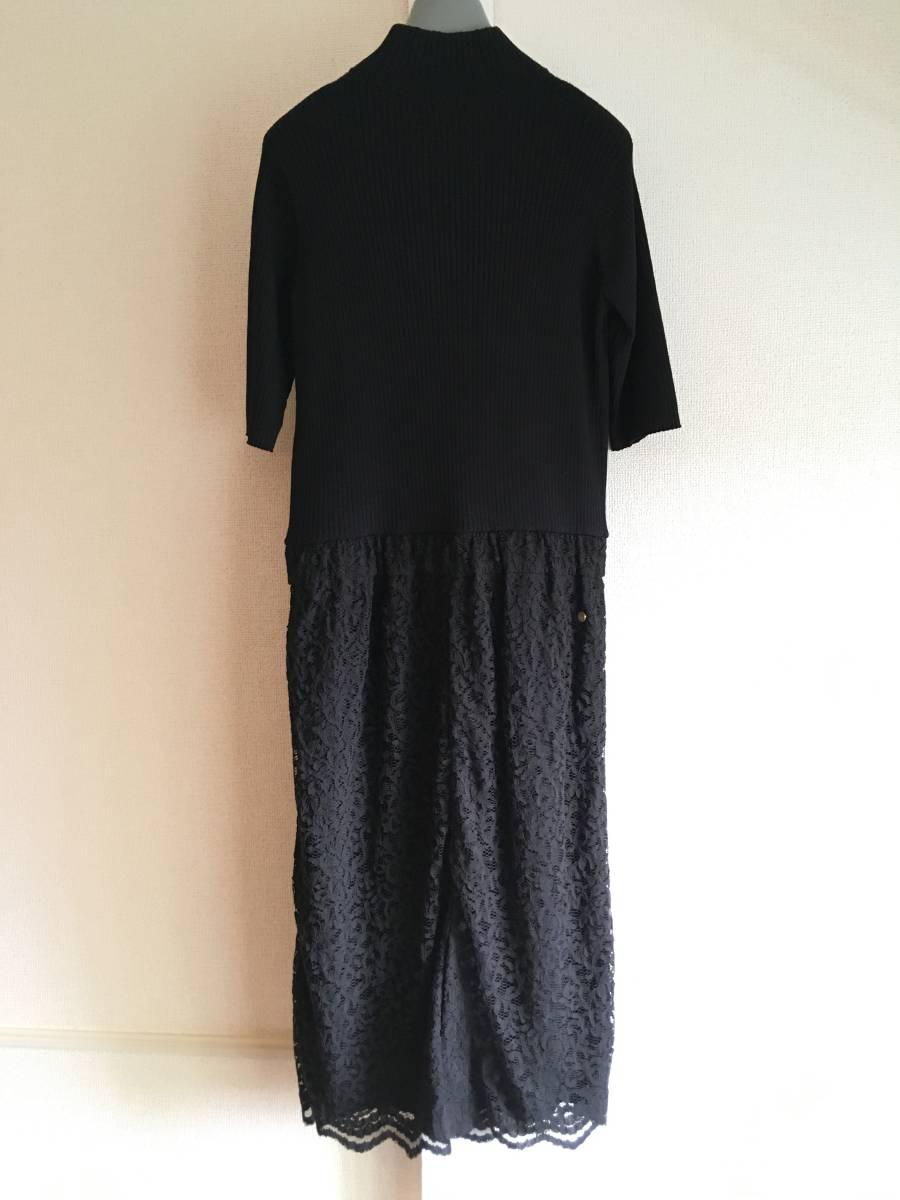 美品 ミュベール レース ニット レイヤード ワンピース 38 ブラック ドレス muveil 黒 蜂 刺繍 装飾_画像6