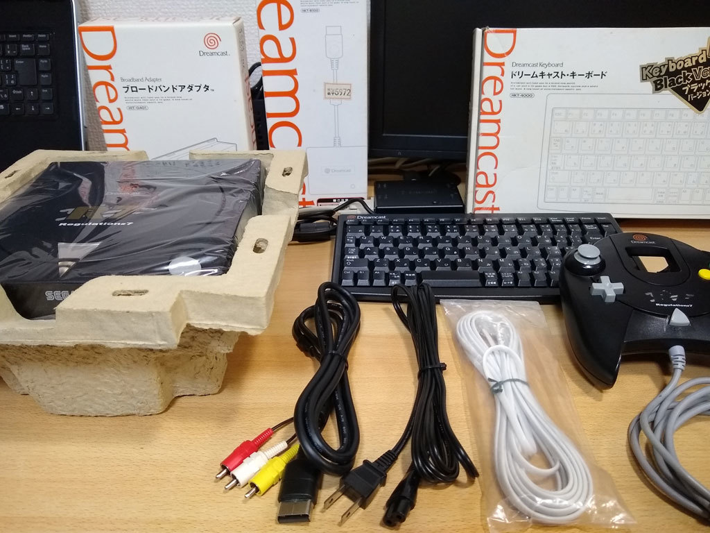 ドリームキャスト 本体 HKT-3000 R7 Regulation#7 + キーボード + VGAボックス ★黒い三点セット【中古】_画像2