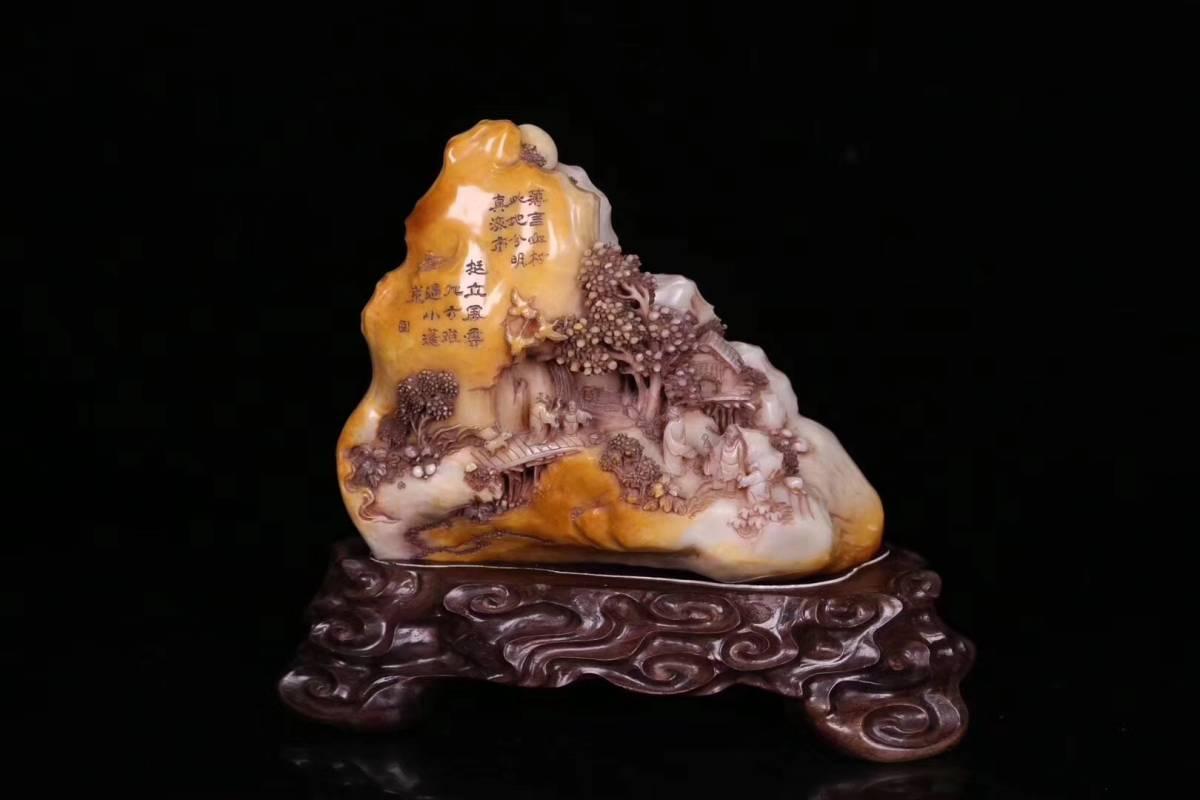 【伝来】中国古美術 蒐集蔵出し 民国時代 寿山石田黄石山子置物 コレクター放出品
