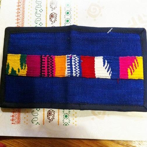 グアテマラ製手織り布ライン二つ折り財布BL青系 南米雑貨 旅行用にも♪ 軽い コンパクトサイズ アジアンエスニック _画像3