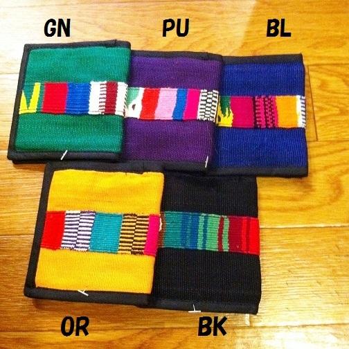 グアテマラ製手織り布ライン二つ折り財布BL青系 南米雑貨 旅行用にも♪ 軽い コンパクトサイズ アジアンエスニック _出品のお色はBLです