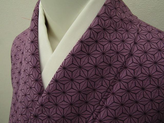 TO-2793 紫根染 麻の葉模様 小紋 未使用品 着物 和装 着付 和服 芸術品