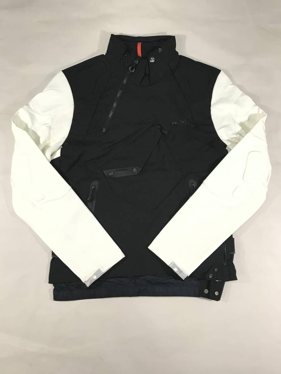 新品 14136 Lサイズ RLX ストレッチ ナイロン ジャケット 黒 白 polo ralph lauren ポロラルフローレン ベスト スキー スノボ_画像1