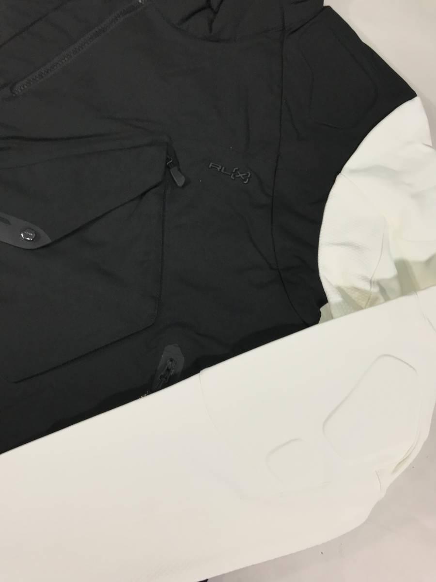 新品 14136 Lサイズ RLX ストレッチ ナイロン ジャケット 黒 白 polo ralph lauren ポロラルフローレン ベスト スキー スノボ_画像2