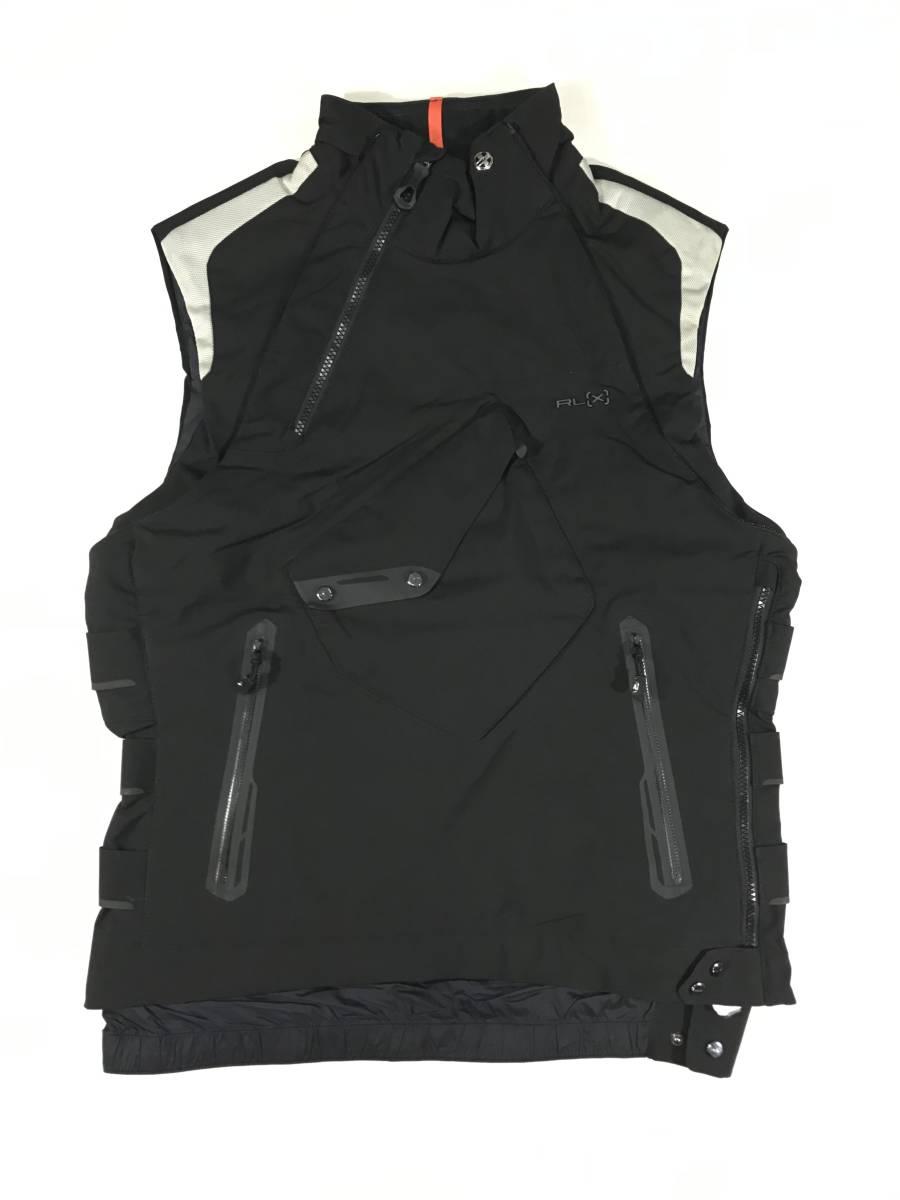 新品 14136 Lサイズ RLX ストレッチ ナイロン ジャケット 黒 白 polo ralph lauren ポロラルフローレン ベスト スキー スノボ_画像7
