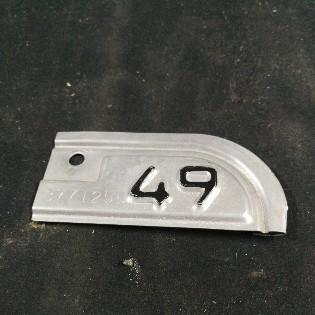 1949 year California license plate tag outside fixed form, letter
