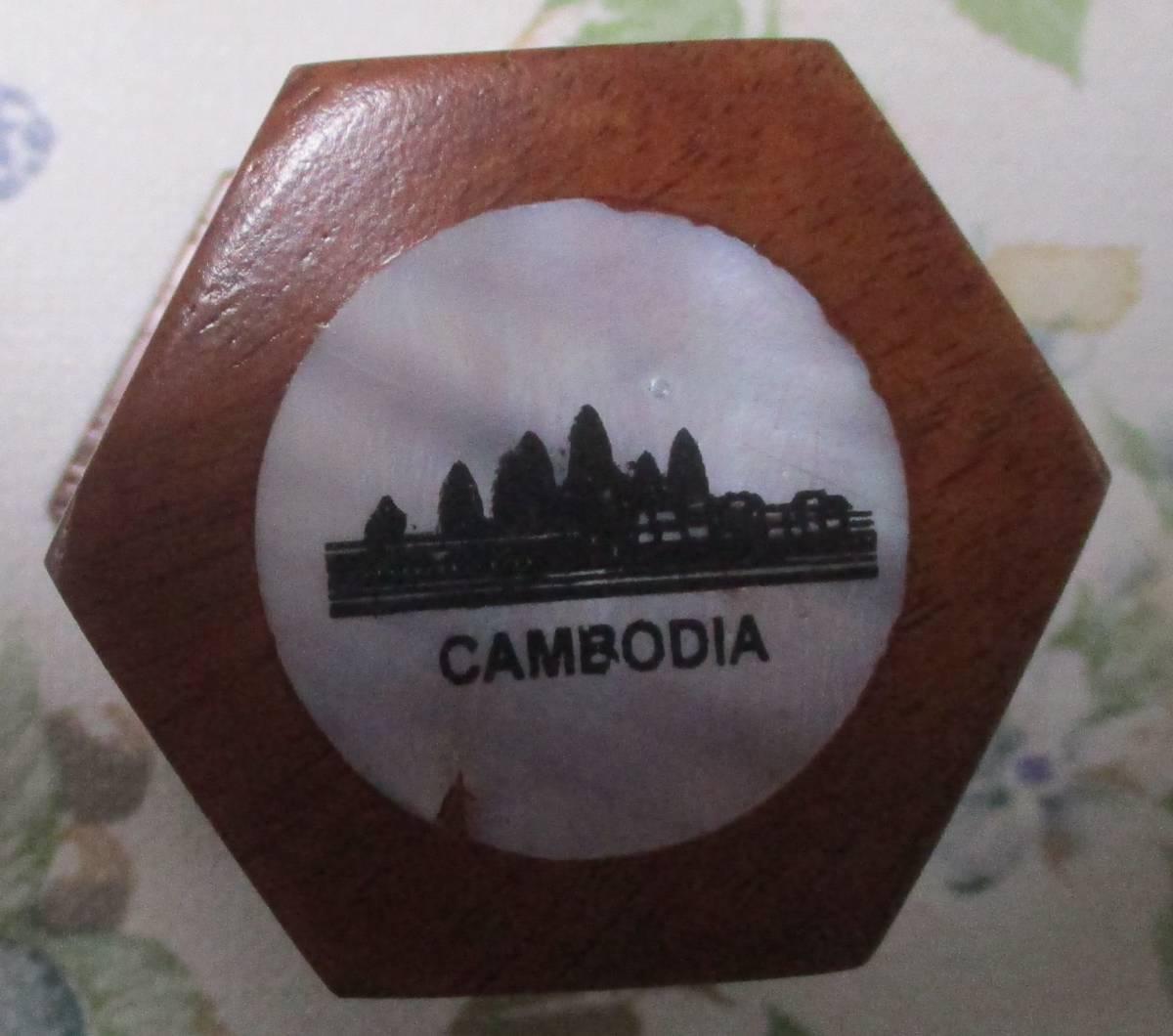 カンボジア製 爪楊枝入れ 新品_アンコールワットの模様