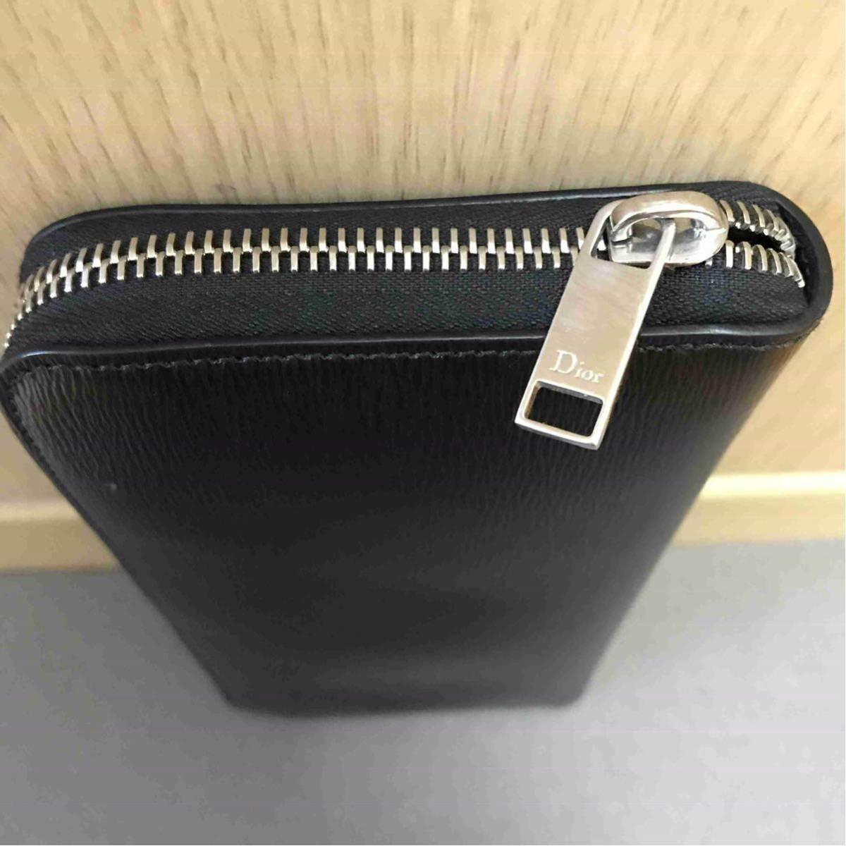 08d4bc22b0a1 正規 Dior Homme ディオールオム BEE 蜂 ラウンドファスナー ウォレット 長財布 財布_画像4