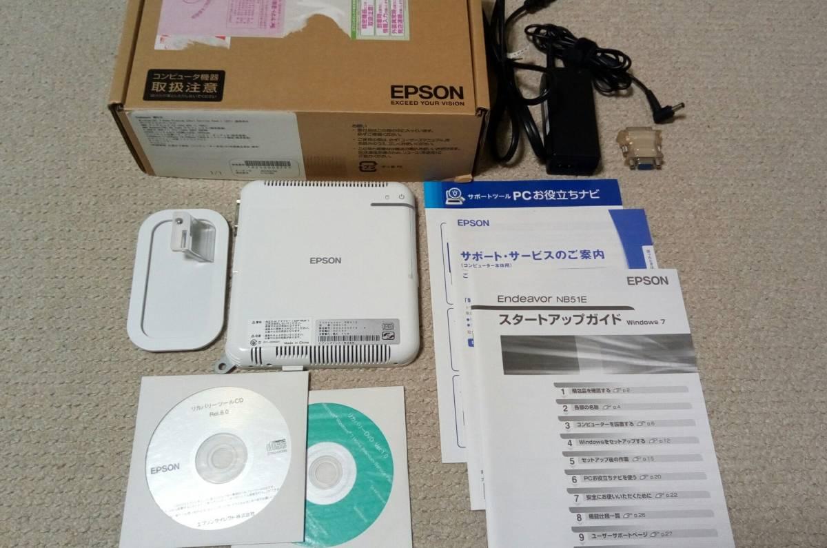 【超小型PC】EPSON Endeavor NB51E★CPU:AMD E2-1800 (1.7GHz)★メモリ:4GB★HDD 500GB★Win7★中古