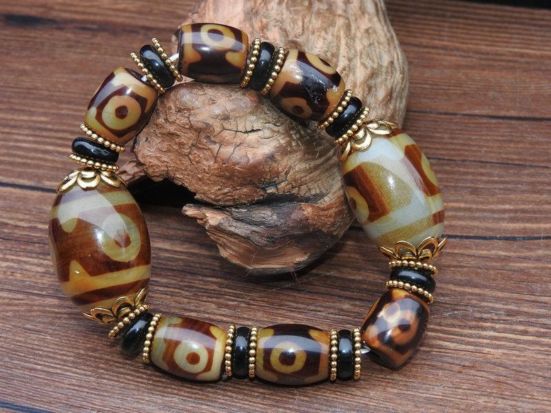 骨董収蔵 三眼天珠 筒珠 仏珠 ブレスレット 腕輪 根付 数珠 裝飾品 時代物