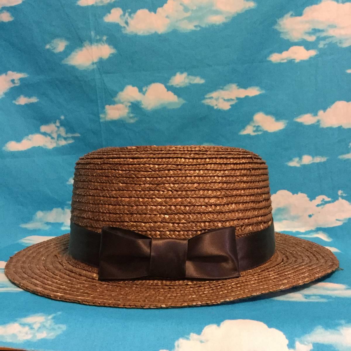 ■INGNI■カンカン帽 ブラウン茶■太めサテンリボン付き■大きめサイズ麦わら帽子麦藁カンカンハット■クラシカルロリータガーリーイング■_画像5