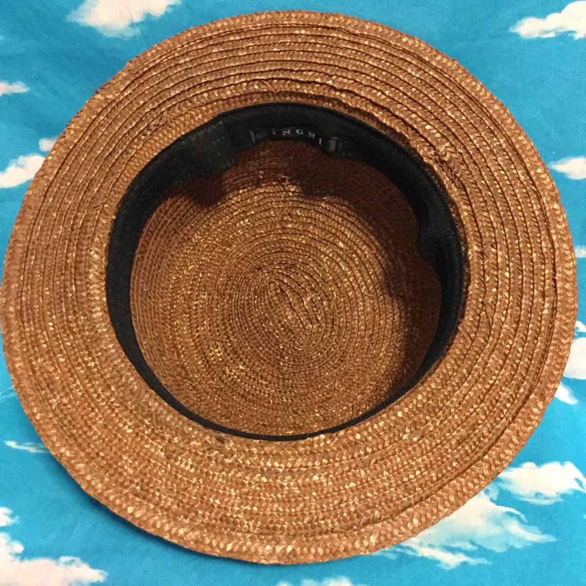 ■INGNI■カンカン帽 ブラウン茶■太めサテンリボン付き■大きめサイズ麦わら帽子麦藁カンカンハット■クラシカルロリータガーリーイング■_画像6