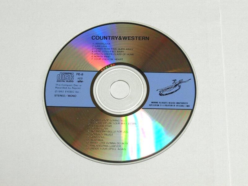 ディスクのみ COUNTRY & WESTERN カントリー&ウエスタン /Hank Williams,Willie Nelson,Wanda Jackson,Tommy Collins,Texas Bill Strength_ディスクのみです