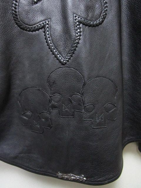レア!世界で1着だけ!A&G レザーシャツジャケット(シルバーアクセサリーカスタムオーダージャケットレザークロススカルパッチ)_画像3