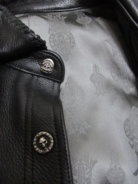 レア!世界で1着だけ!A&G レザーシャツジャケット(シルバーアクセサリーカスタムオーダージャケットレザークロススカルパッチ)_画像4