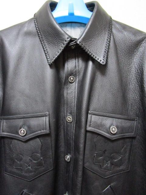 レア!世界で1着だけ!A&G レザーシャツジャケット(シルバーアクセサリーカスタムオーダージャケットレザークロススカルパッチ)_画像7