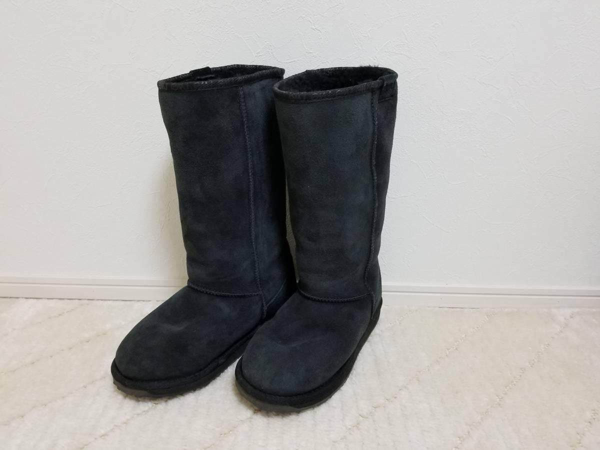 1度使用 美品☆emu エミュー ムートン ブーツ ブラック 黒 24.0cm
