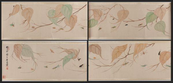 【巻け物】大珍品 「花虫図 齊白石 」中国 近代書画家 肉筆保證 唐物唐本 7.92M