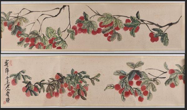 【巻け物】大珍品 「花卉図 齊白石 」中国 近代書画家 肉筆保證 唐物唐本 5.88M