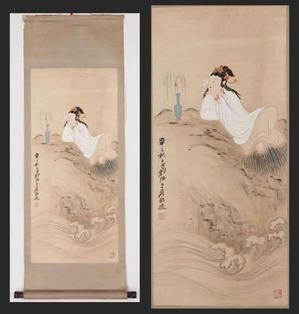 【掛け軸】大珍品「觀音図 張大千 」 中国 近代書画家 肉筆保證 唐物唐本