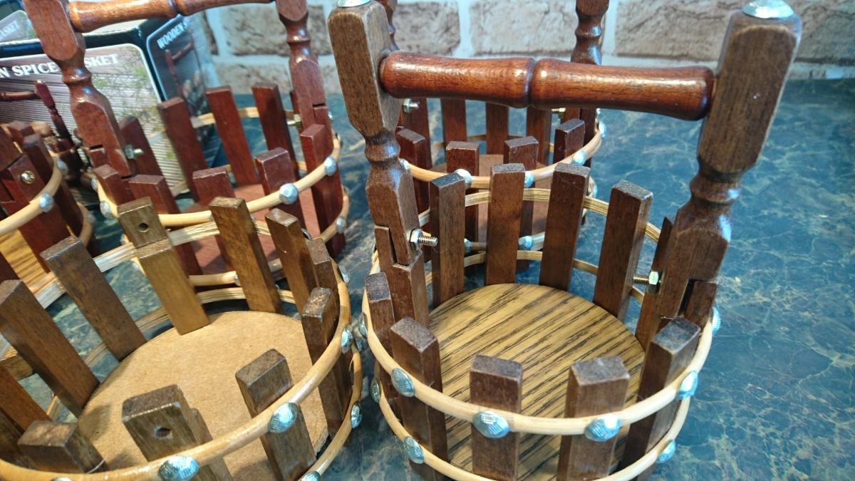wooden spice basket のバスケット 5個セットで 調味料入れ ラック 未使用展示保管品_画像5