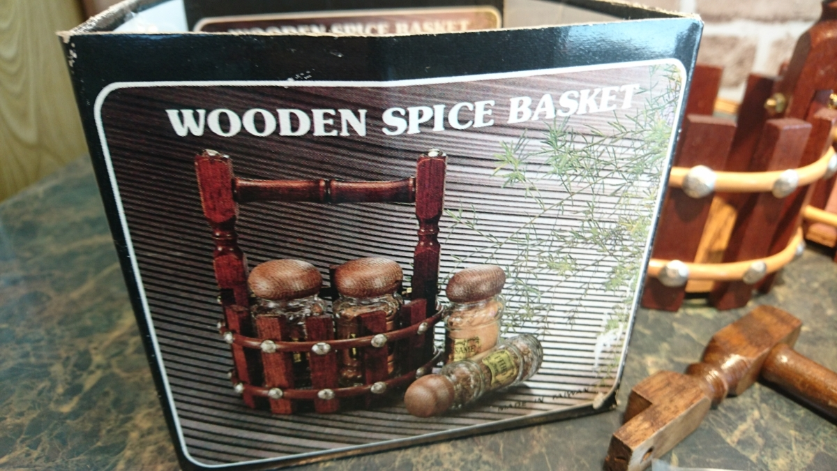 wooden spice basket のバスケット 5個セットで 調味料入れ ラック 未使用展示保管品_画像2